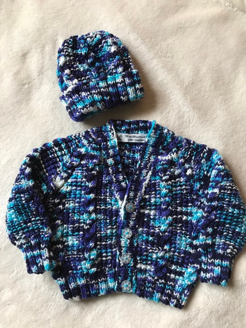 44b5b9179e96 Knitted baby cardigan and hat set baby sweaterCable Pattern