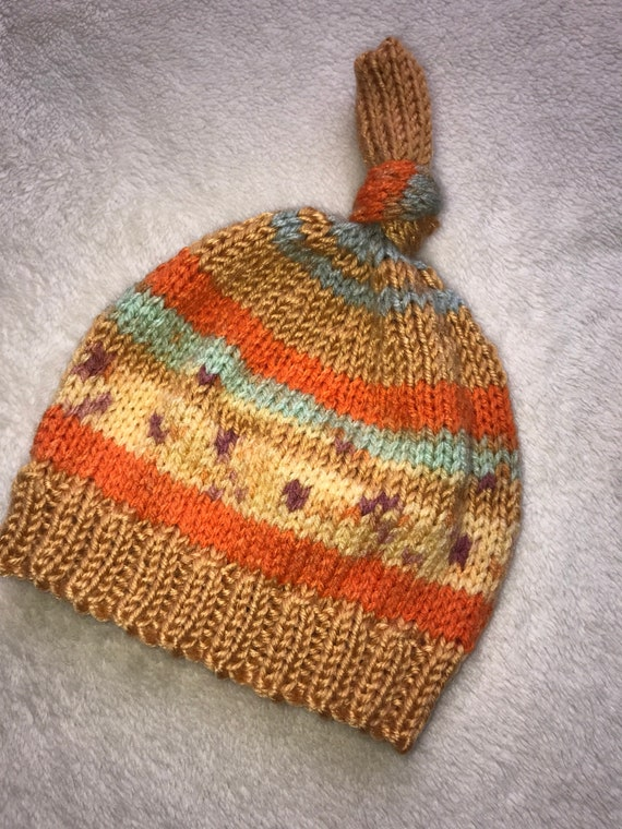 Rainbow Baby Hand knitted Premature Early baby to 6-12 Mths Baby Hat