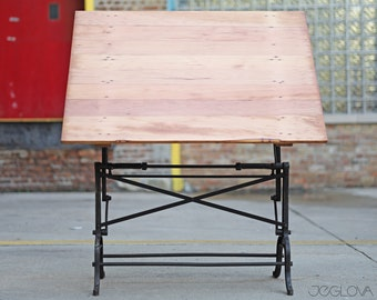 vintage industrial drafting table by L. E. Hoyt & Co. of Walten, NY, patented July 10 1894