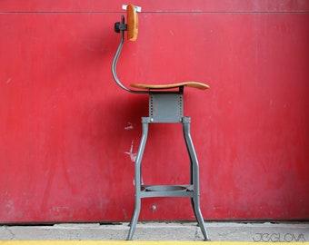 tall vintage industrial drafting UHL Art Steel stool by Toledo Co