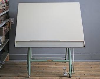 vintage drafting table by Sautereau Lucien of Paris, France, vintage industrial standing desk, flexible workspace
