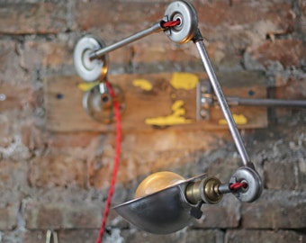 restored vintage industrial desk or wall lamp – articulating machinist's lamp