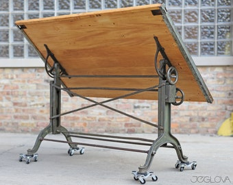 massive vintage drafting table by Frederick Post Co. – cast iron base, rare, value-retaining tilting industrial desk, restored &revived top