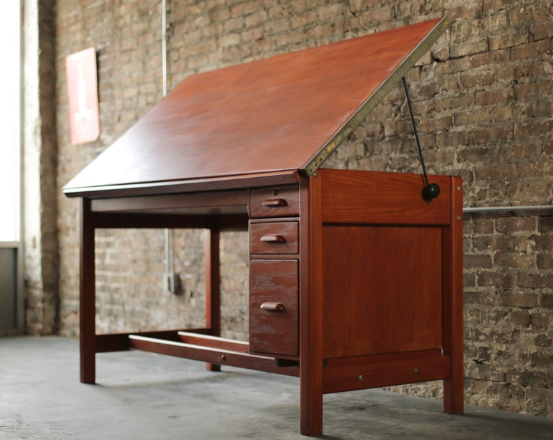 Vintage Hamilton Drafting Table With Extra Storage Work Desk With Drawers