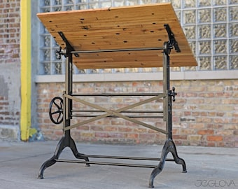 vintage drafting table by Dietzgen with custom-made upcycled railcar flooring wood top—rare and scarce