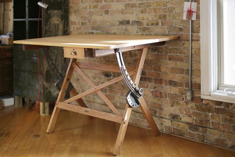 Bureau table vintage rédaction par dietzgen bois et fer de etsy