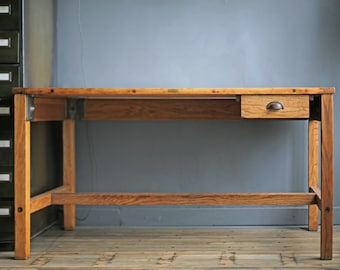 """restored vintage drafting table – rare 4-post oak & cast iron vintage industrial """"Sturdy"""" drafting table by legendary Eugene Dietzgen"""