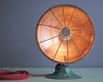 """custom copper """"Handy Heater"""" by Chicago Electric mfg co turned lamp"""