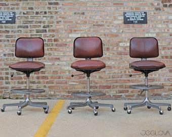 "set of 3 matching reupholstered rolling stools, ""Eurochair"" designed by legendary Fritz Makiol for Girsberger"