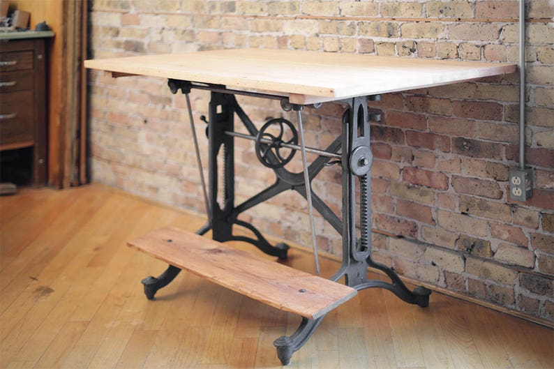 Restored Vintage Drafting Table Desk By Keuffel And Esser Cast Iron Base Table Vintage Antique Desk Architect Table