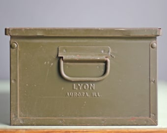 set of 8 stackable vintage industrial metal factory bin by Lyon of Aurora, IL, perfect industrial planter