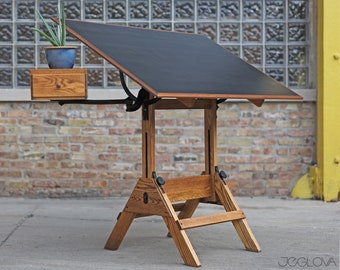 restored vintage drafting table by Hamilton Mfg., scalable standing or sitting desk with a swing-out drawer