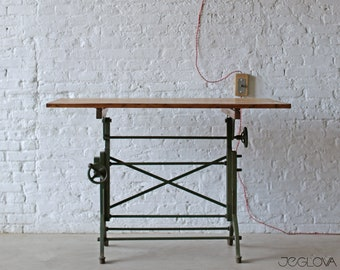vintage drafting table by Frederick Post Co. – cast iron base, rare, value-retaining tilting vintage industrial desk, restored &revived top