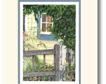 Blue Window hand made greeting card featuring a print of a color pencil drawing of a New Zealand scene. Blank inside.
