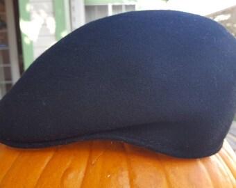 DORFMAN PACIFIC SCALA Handmade Black Wool Felt Driving Cap e89b1b3a6518