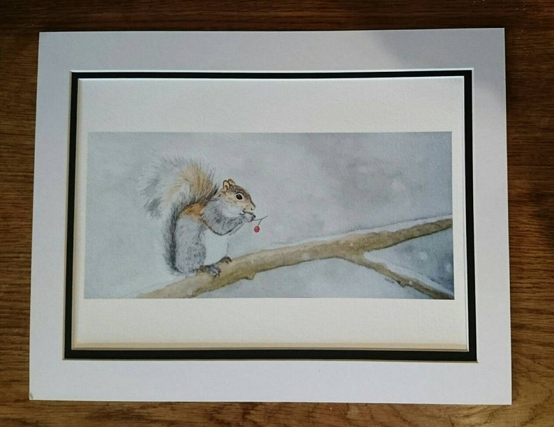 Squirrel Watercolour  Limited edition Giclee fine art print  image 0