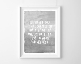 Poster quote Mark Twain:Whenever you find yourself, on the side of the majority Gift Idea,Typography Poster,Gift,live Quote, Gift Idea,