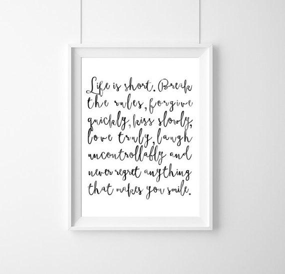 Plakat Zitat Mark Twain Das Leben Ist Kurz Dekor Zitat Inspirational Geschenkidee Typografie Poster Geschenk Live Zitat Inspirational
