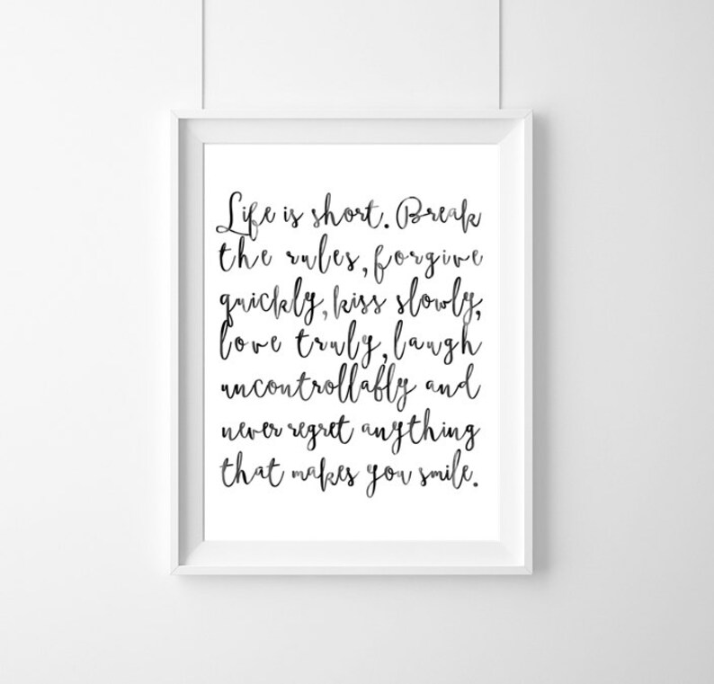 Poster Quote Mark Twain Life Is Short Decor Quote Etsy