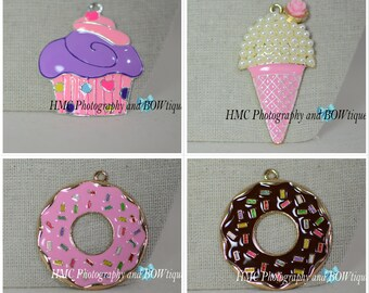 Cupcake Ice Cream or Donut Alloy & Enamel Pendant DIY Chunky Bead Necklace