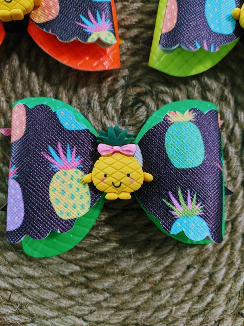 Stacked Clip Faux Leather Hair Bow Headbands Toddler Girls Pineapple Glitter