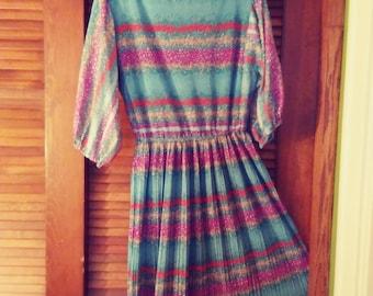 029aab174b Sale was 45 now 39. 70s Sheer Pleated Flower Pattern Dress by Lehigh Sheer  Dress Lehigh Pleated Dress