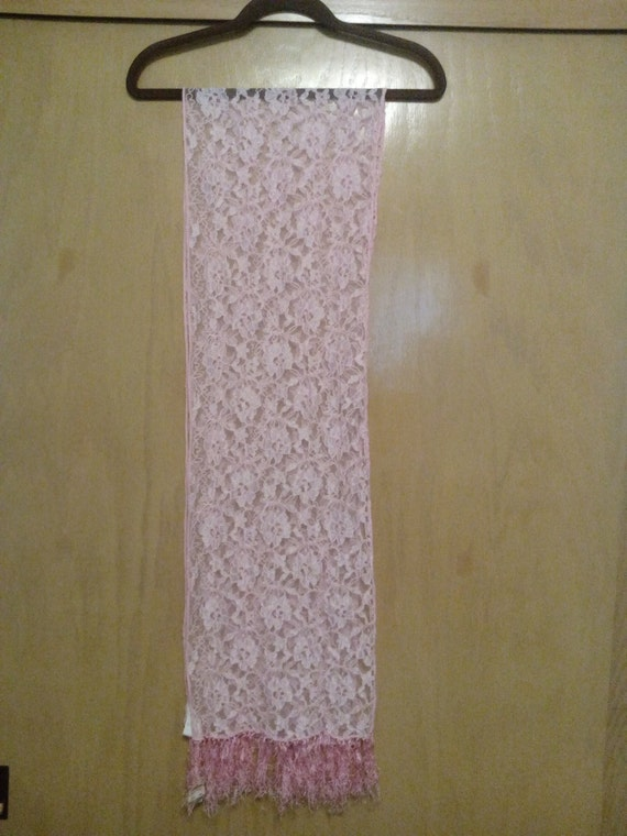 80s/90s NWT Vintage Pink Lace Scarf/Lace Scarf/NWT