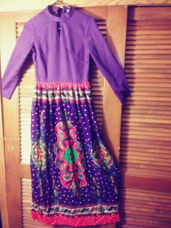 60s/70s Psychadelic/Psychedelic Paisley Maxi Dress