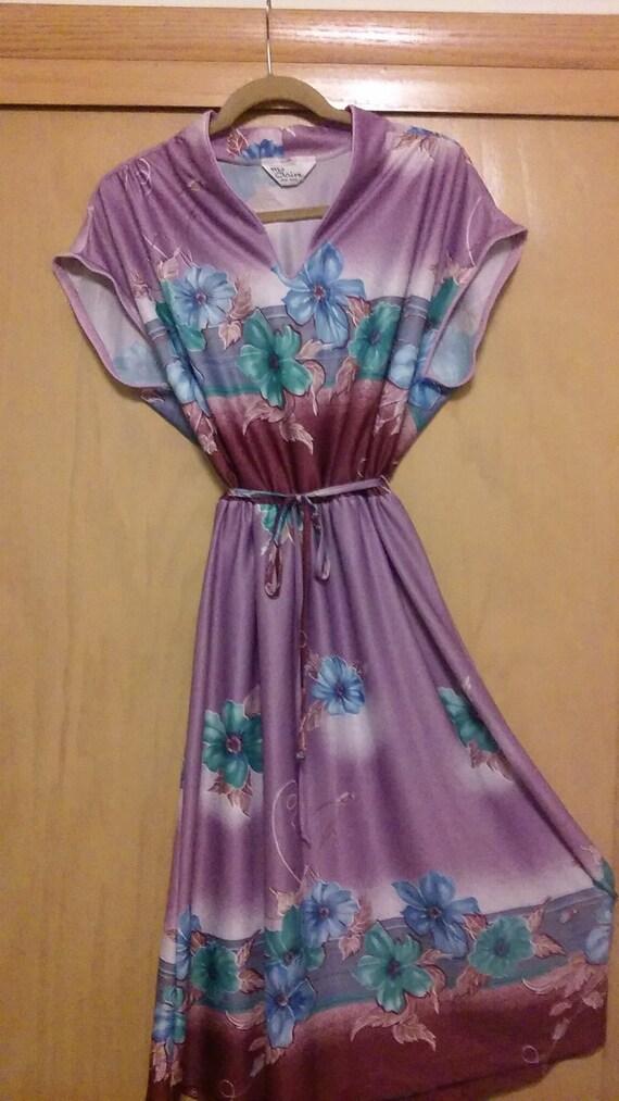 70s Hawaiian Style Flower Pattern Sheer Dress by M