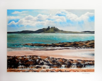 Dunstanburgh Castle Giclee Print- A4 Quality Mounted Giclee Print of Dunstanburgh Castle, Northumberland (beach sea seaside castle seascape)