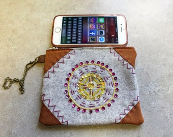 Hand Embroidered Wool Wristlet-Mandella-circle of life and love-Wool N Rustics OriginalDesign