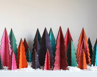 Christmas Trees In Tropical Colours - Bright Christmas Tree - Wooden Christmas Tree - Christmas - Bright Christmas Decorations