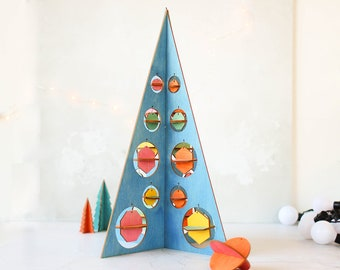 Geometric Tree With Decorations - Christmas Table Decoration - Wooden Xmas Decor - Festive Dining Centrepiece - Home - Travel - Colourful