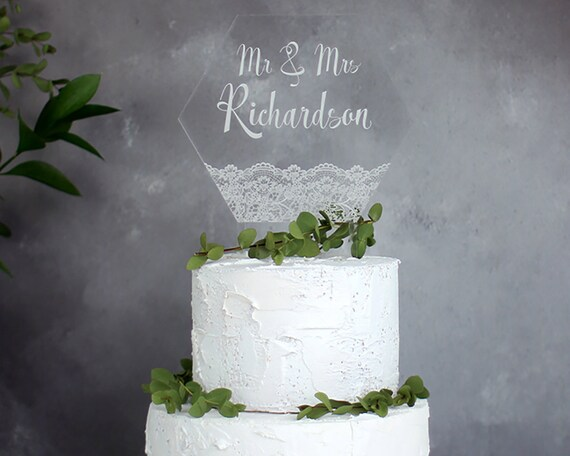 Personalised Lace Wedding Cake Topper Hexagon Cake Topper Wedding Decoration Wedding Styling Vintage Style Wedding Mr Mrs