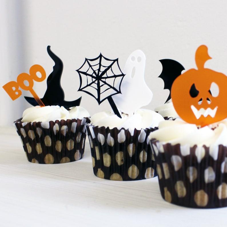 Halloween Decorations   Halloween Mini Cake Toppers Set Of Six   Halloween  Cake Topper   Cake Topper   Cupcake Topper   Halloween Decor