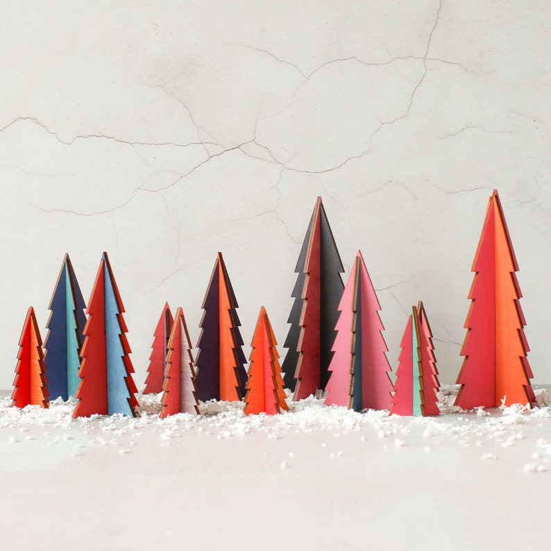 Colourful Christmas Trees In Wood  Bright Christmas Tree  Random Colours