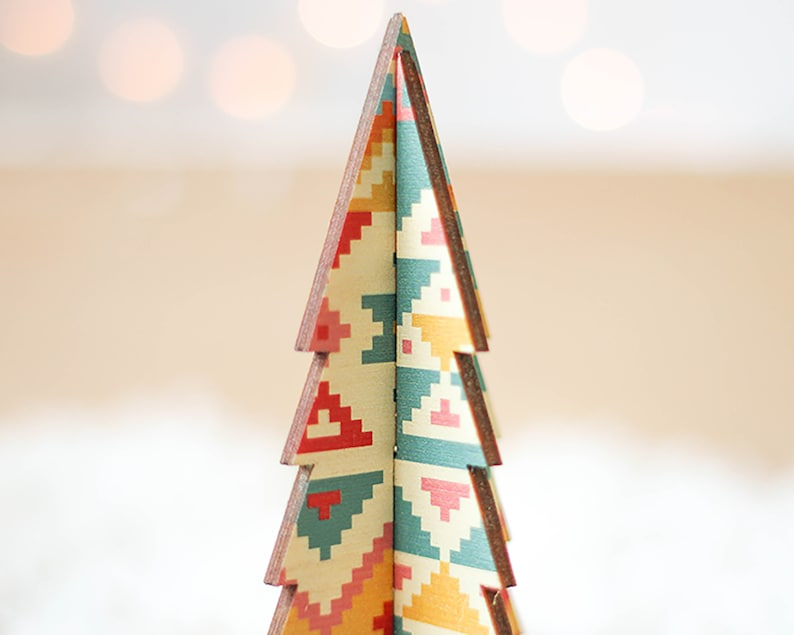 Mexican Aztec Design Christmas Table Decoration Bright Christmas Christmas Tree 3d Trees Wooden Trees Contemporary Christmas