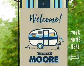 Custom Camping Flag, Navy Welcome to Camp, Personalized Garden Flag, Vintage RV Camper, Campsite Campground Sign, Glamping Banner 12x18 in