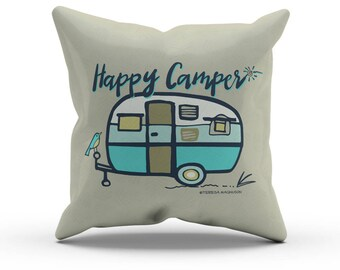 Turquoise Happy Camper Pillow, Decorative Throw Pillow, Indoor Outdoor Cushion, RV Retro Vintage, Camper Decor, Glamping 18in 45cm