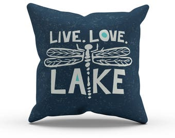Navy, Dragonfly Live Love Lake Throw Pillow Cover, Decorative Pillow, Indoor Outdoor Cushion, Lake House Decor, Chunky Hand Lettering, 18in