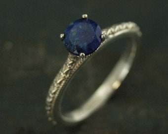 Lapis Lazuli Ring Full Cut Lapis Ring Blue Engagement Ring Antique Style Ring Sterling Silver Alternative Engagement Ring Blue Jeans
