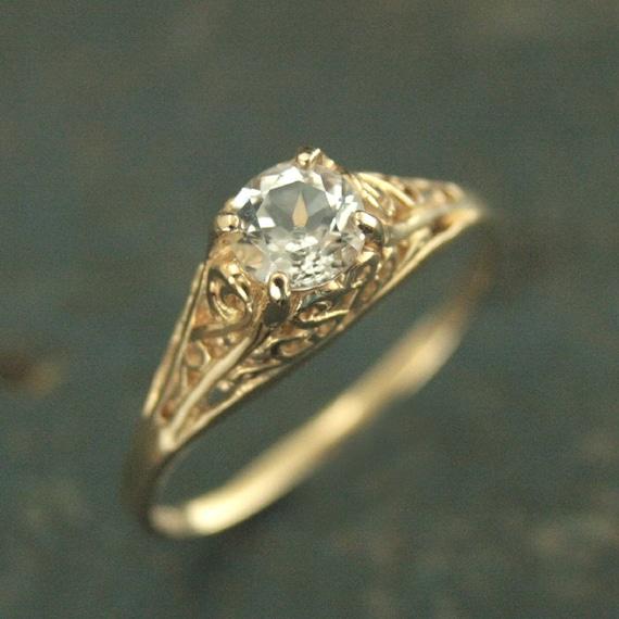 Vintage Stil Ring Filigrane Verlobungsring Cinderella Etsy