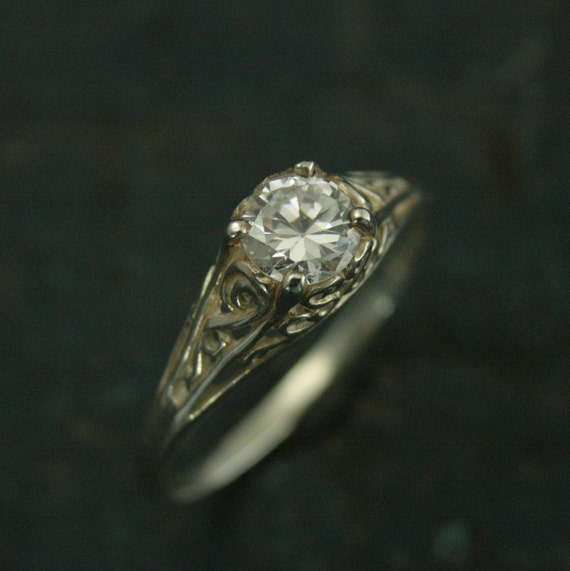 The Cinderella Ringsilver Vintage Style Filigree Engagement Etsy