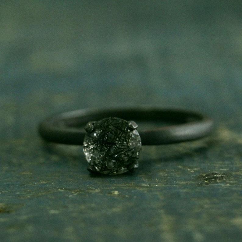 Flat Black Engagement RingOxidized Black RingRutilated image 0