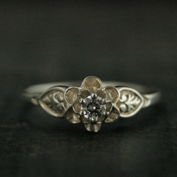 Silver Promise Ring Julie Sweet Sixteen Ring Vintage Style Ring Antique Style Ring Flower Ring Solitaire Birthstone Ring Gift For Her by Etsy