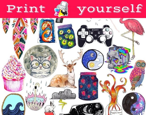 Free Set 46 Mockup Printable Tumblr Stickers Stickers Set Of Psd
