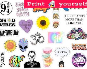 photo relating to Printable Stickers Tumblr titled Preset 13. Mockup printable Tumblr Stickers Stickers Preset of Etsy