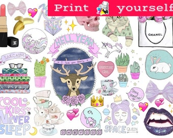 picture about Tumblr Stickers Printable known as Fixed #257. Mockup printable Tumblr Stickers, Stickers, Sets