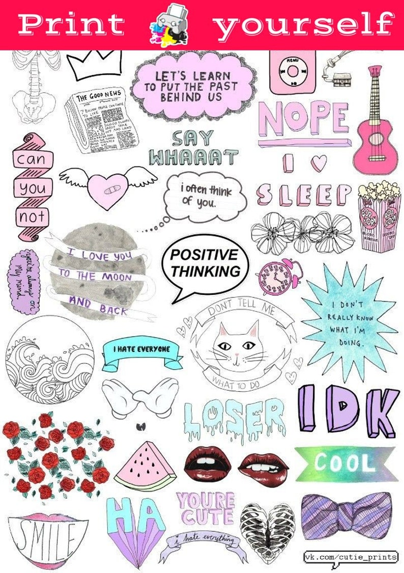 Set 117 mockup printable tumblr stickers stickers set of etsy