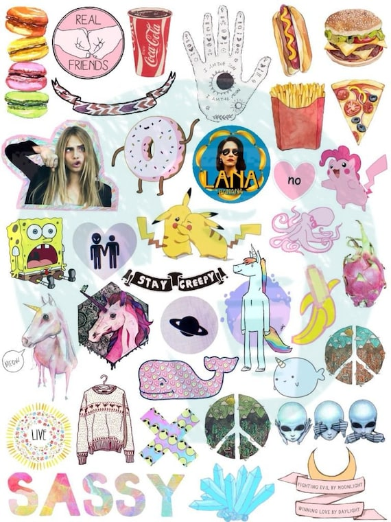 Set 37. Tumblr Stickers. Stickers. Set of stickers. Decals ...